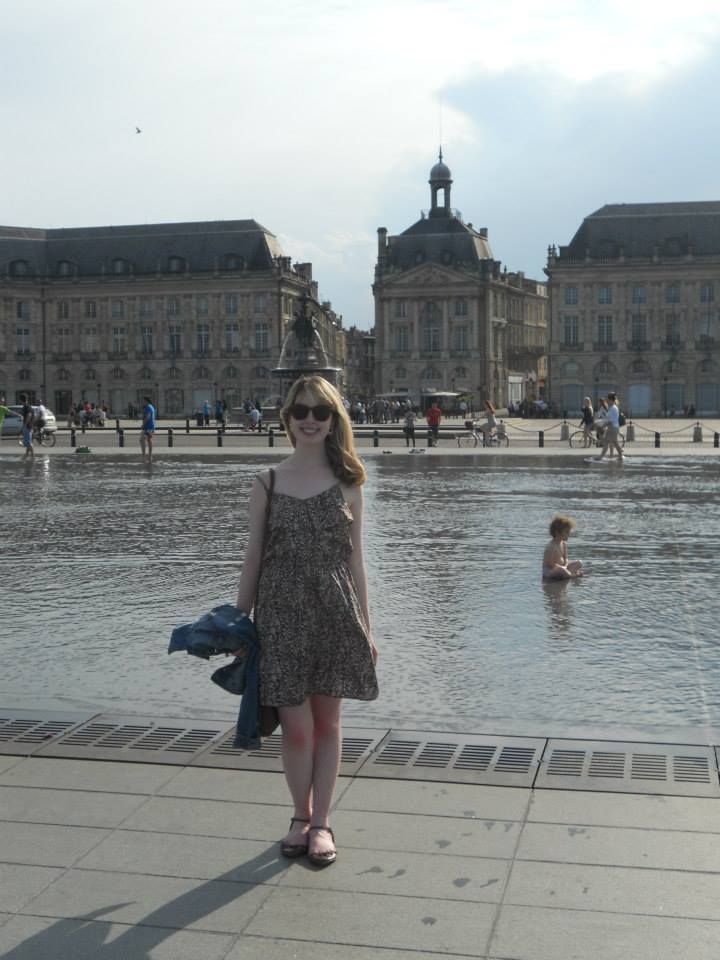 Me at the place de la Bourse - teaching English in France