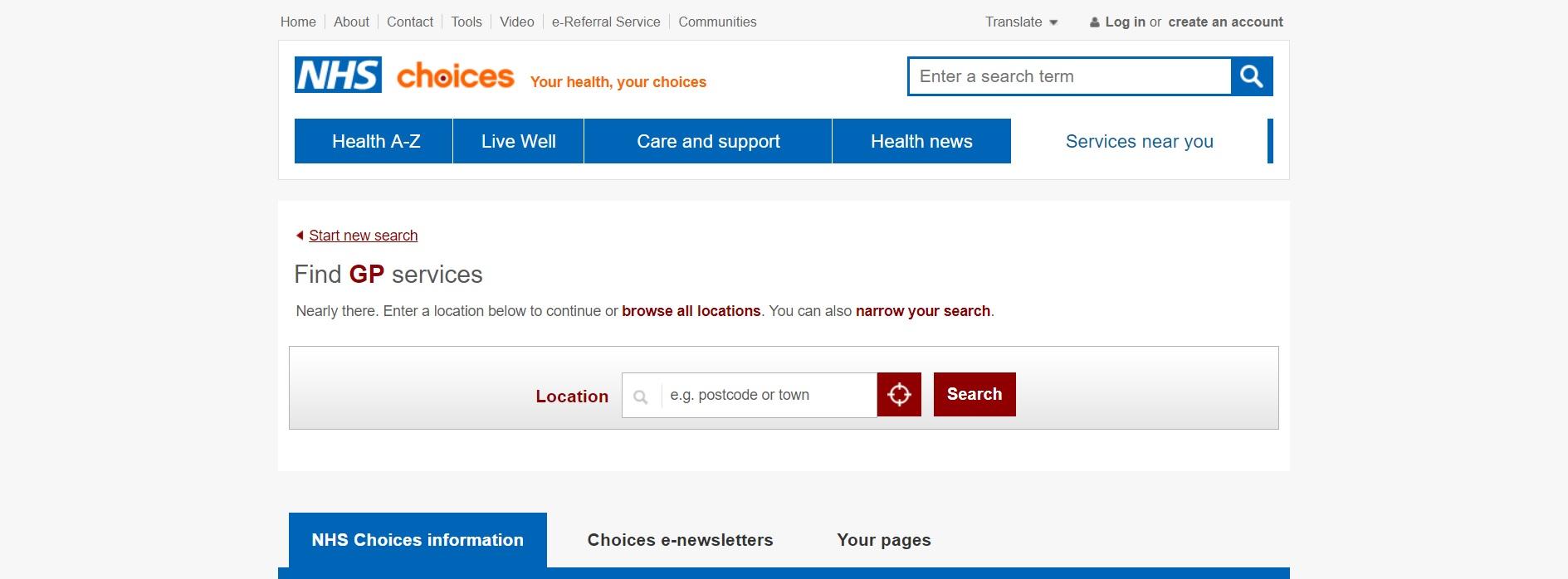 búsqueda NHS